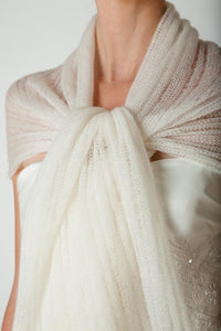 Wedding stole knitted in lace pattern for your bridal gown ivory