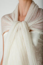 Load image into Gallery viewer, Bridal scarf knitted for your wedding dress or skirt ivory and white