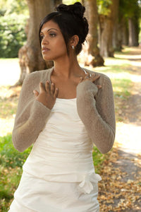 Cashmere knit bolero for brides with 3/4 sleeve grey brown
