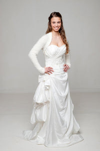 Bridal knit cardigan in ivory and white for wedding dress and skirt