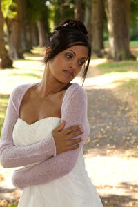 Bridal jacket knitted with lace made of cashmere ivory and rose