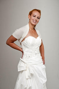 Bridal knit jacket angora for your wedding dress in ivory and rose