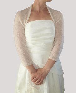 Cashmere knit bolero for brides with 3/4 sleeve
