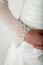 Load image into Gallery viewer, Bridal jacket knitted with lace made of cashmere ivory