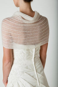 Bridal stole knitted for your wedding gown or skirt ivory and white