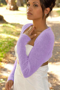 Knit jacket for brides in purple pale coloured