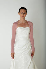 Load image into Gallery viewer, Cashmere bolero for weddings with 3/4 sleeve white and ivory