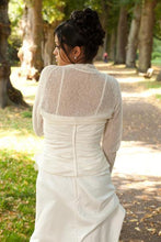 Load image into Gallery viewer, Wedding bolero knitted in white, ivory, blush, pale blue, gold, pale brown