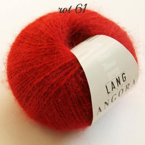 Angora wool from lany yarns with silk red
