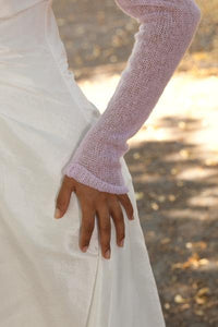 Cashmere knit bolero for brides with 3/4 sleeve rose