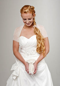 Knit jacket for brides with short sleeves for your wedding dress ivory