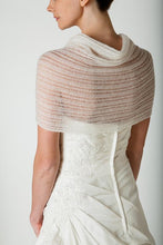 Load image into Gallery viewer, Wedding stole knitted in lace pattern for your bridal gown ivory and white