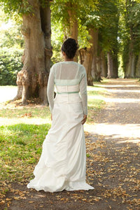 Wedding Knit jacket for brides made of cashmere ivory and white