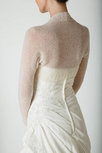 Knit bolero cashmere ivory and white for Bridal gowns
