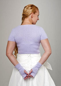 Bridal jacket knitted with matching cuffs for your wedding rose, purple