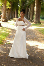 Load image into Gallery viewer, whit knit jacket for your bridal gown bohemian wedding white