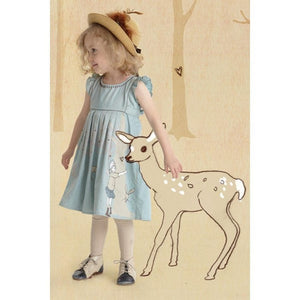 Dress for little girls in grey blue