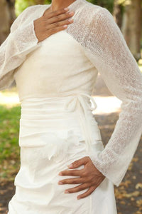 cashmere knit jacket for bridal gowns ivory, blush and white