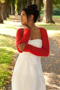 Red knit bolero festive for your evening dress