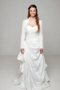 Bridal knit jacket in ivory and white for wedding dress and skirt