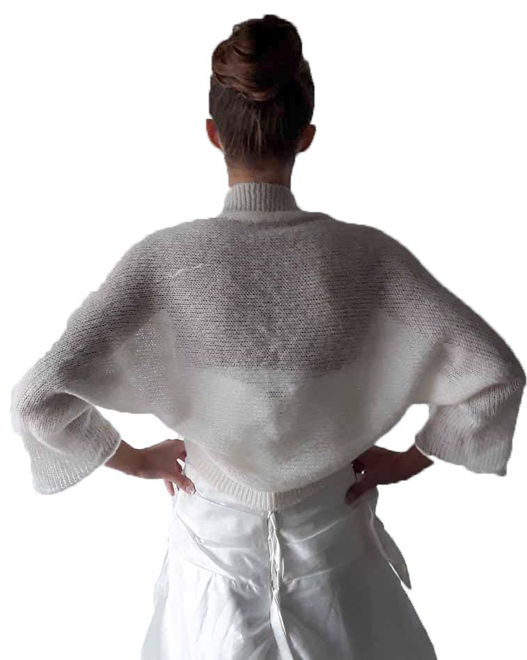Loose knit jacket for bridal gowns