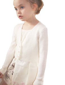 Knit jacket for flower girls in ivory with knots