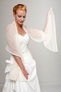 Knit pashmina for your birdal gown in ivory and blush
