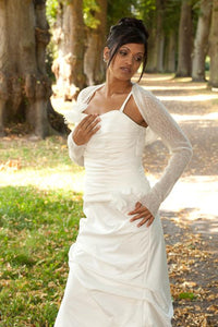 wedding bolero festive white and ivory knitted