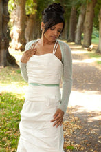 Load image into Gallery viewer, Bridal bolero pale green; we knit for brides