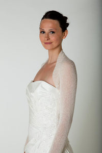 Wedding Knit bolero cashmere ivory and white for Brides