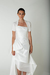 Angora knit jacket with short sleeves white for brides