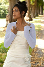 Load image into Gallery viewer, Cashmere knit bolero for brides with 3/4 sleeve pale blue