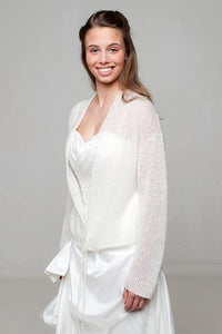 Bridal knit cardigan look through made of alpaca and cashmere wool