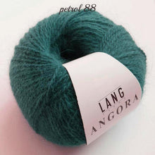 Load image into Gallery viewer, Angora wool from lany yarns with silk petrol soft and cudly