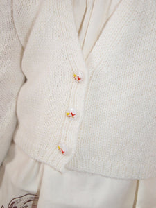 Knit jacket for flower girls in ivory for communion