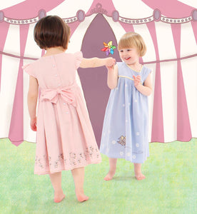 Dress for little girls printed in pale blue