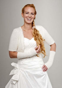 Wedding cardigan knitted with short sleeves made of angora ala Kate Middleton