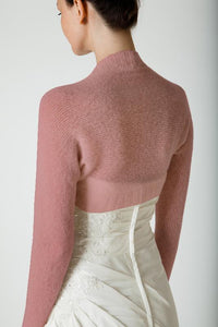 Bridal knit shrug made with soft wool ivory