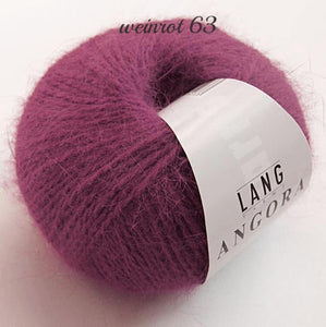 Angora wool from lany yarns with silk dark red for knitting