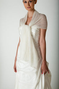 Bridal pashmina knitted for your wedding dress or skirt ivory and white
