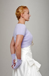 Bridal jacket knitted with matching cuffs for your wedding angora