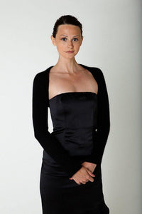 Festlicher Black knit bolero soft with cashmere silk beemohr