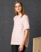 Load image into Gallery viewer, Handknitted short sleeve sweater made of soft wool cotton merino