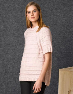 Handknitted short sleeve sweater made of soft wool cotton merino
