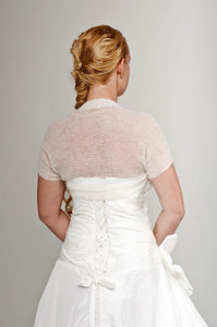 Knit jacket for brides with short sleeves for your wedding dress ivory and white