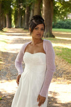 Load image into Gallery viewer, Cashmere bolero for brides with 3/4 sleeve white and ivory, blush