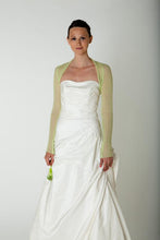 Load image into Gallery viewer, Cashmere bolero for brides with 3/4 sleeve white and ivory and lieght green