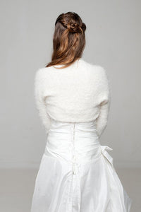 Bridal knit jacket knitted in ivory and white