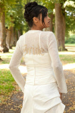 Load image into Gallery viewer, Knit Bolero ivory and gold for your bridal gown with letters wedding