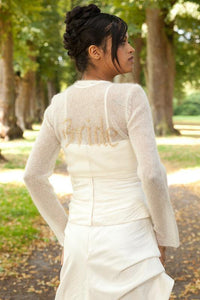 Knit Bolero ivory and gold for your bridal gown with letters wedding